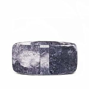 SAMAYA Meditation Cushion ・ Floor Cushion ・ Zafu ・ Organic Filling Buckwheat Millet Lavender ・ Designer Styles ・ Made in USA (Basalt)