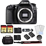Canon EOS 80D DSLR Camera (Body Only) Bundle Kit with Carrying Bag + 2X 64GB Memory Cards + Spare Battery + More - International Model