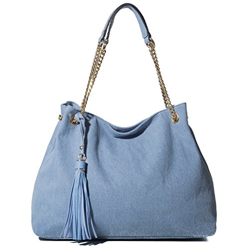 Handbag Republic Vegan Leather Denim Tote Bag Shoulder Bag With Tassel and Metal Chain Strap For Women