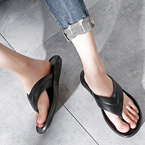 da Pantofole Nero Libero Open Sandali Uomo Antiscivolo Toe Pelle Comodi Yujeet Leggeri in Moda E Tempo XpwOOq