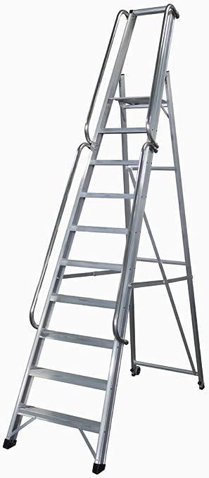 KTL Escalera Industrial de Aluminio Tijera un Acceso 10 peldaños Serie XL-s: Amazon.es: Hogar