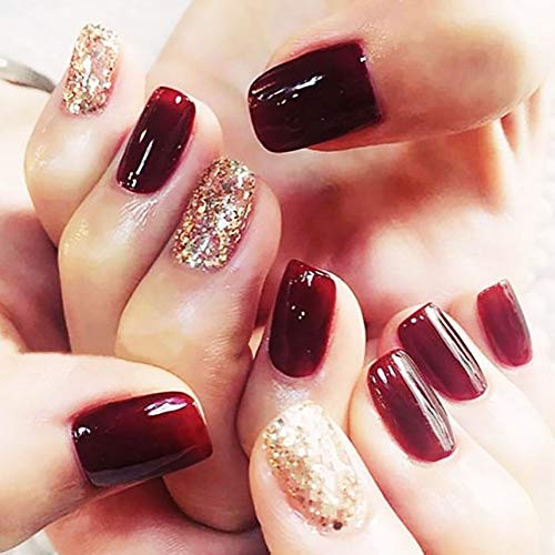 Drecode False Nails Bling Gold Paillette Full Cover Red Fake Nails Simple Fashion Party Clip on Nails for Women and Girls(24Pcs) (Images Of Nail Designs For Short Nails)