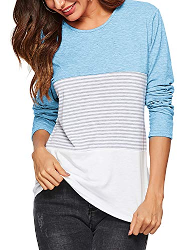 Amoretu Womens Striped Casual Long Sleeve T-Shirts Tops Plus Size Light Blue XXL
