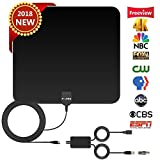 TV Antenna HD Digital,Skywire TV Antenna with 50-80 Miles Range Support 4K 1080P, Indoor Digital HDTV Antenna & Amplifier Signal Booster USB Power Supply-16.4ft Coax Cable