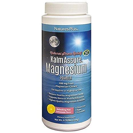 Natures Plus - Polvo del magnesio de KalmAssure que restaura la limonada rosada - 0,