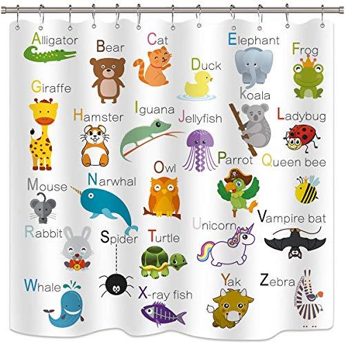 Riyidecor Cdcurtain ABC Learning Alphabet Shower Curtain Kids Educational Bathroom Decor Fabric Panel Funny Teaching Words 72x72 Inch 12 Pack Plastic Shower Hooks (Curtain Shower Kids)