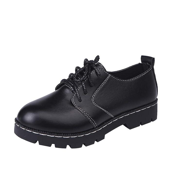 2018 Otoño Botas Mujer Cortos Moda Zapatos Planos de Cuero con Cordones Botines de Nieve de Punta Redonda Cómodas Zapatos Casuales Martin Boots: Amazon.es: ...