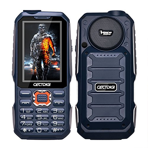 Cectdigi T19 Rugged 2G GSM Mobile Phone,Shockproof Military-Designed phone with Power Bank Charging Function,15800mAh Battery,2.8inch Display,Three SIM Cards,Flashlight (Blue, No TF Card)