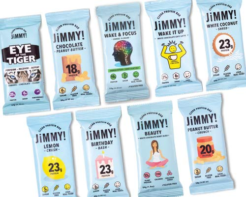 JiMMYBAR! Clean Protein Bars, All Flavors Variety Pack (Get Jimmy! with It), High Protein, Low Sugar, Gluten Free, Energy Boost, 2.05 Ounces, 12 Count by JIMMYBAR