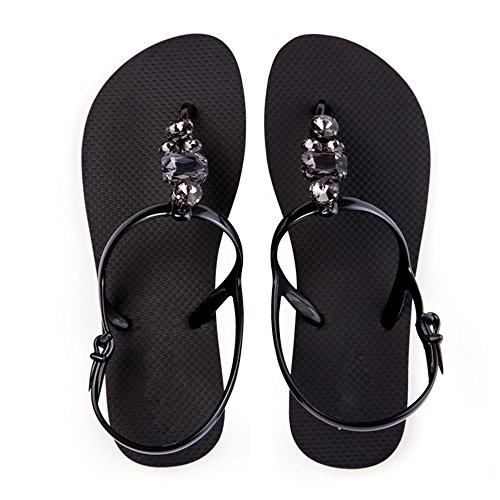 XIAOLIN ダイヤモンドサンダル夏の靴ラインストーンファッションフラットボトムクリップつま先のサンダルサンディービーチ(オプションのサイズ) (色 : ブラック, サイズ さいず : EU39/UK6.0/CN39)