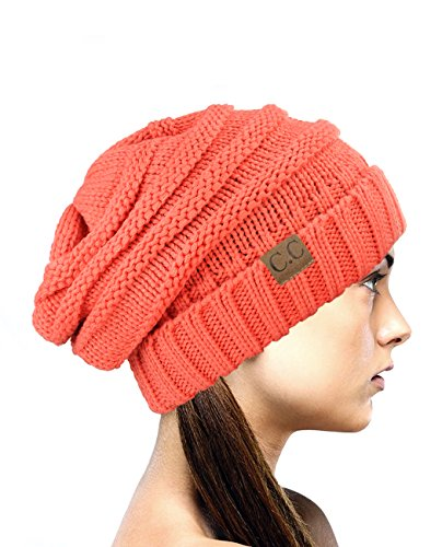 (NYFASHION101 Oversized Baggy Slouchy Thick Winter Beanie Hat, Coral)