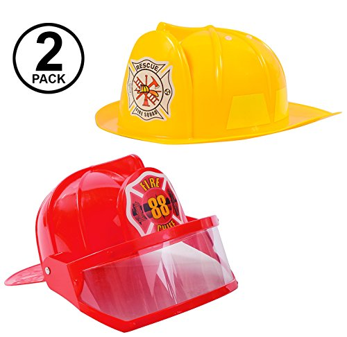 Tigerdoe Fireman Hat - Firefighter Hat & Fire Chief Hat - Fireman Costume Accessories - 2 Pack Fireman Helmet (Red and Yellow)]()