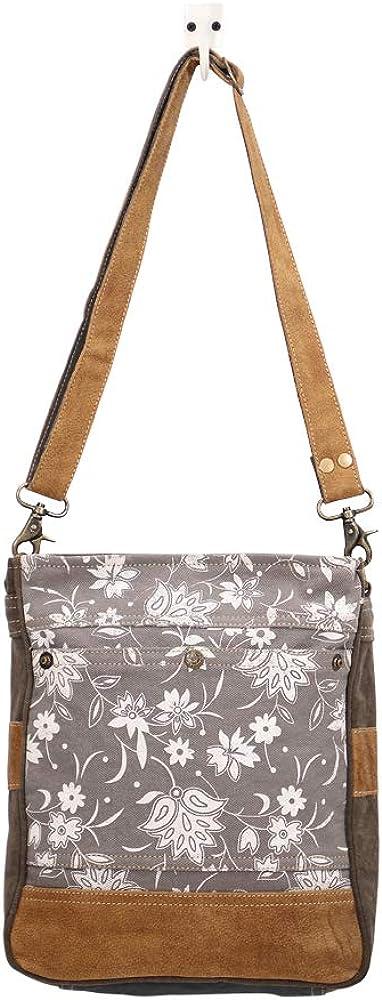 Myra Bag Blossom Print Upcycled Canvas /& Leather Shoulder Bag S-1427