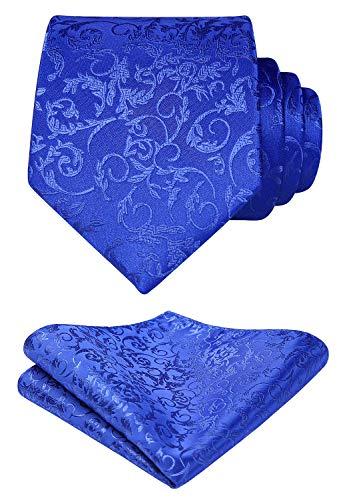 HISDERN Floral Woven Tie Classic Men's Necktie & Pocket Square Set Blue