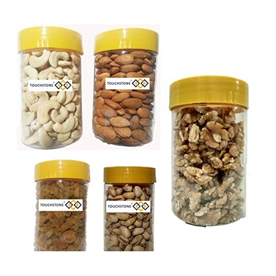 TOUCHSTONE - our motto is TOUCHSTONE Dry Fruits Deluxe Combo Mini Pack of Cashew 250g; Almonds/Badam Giri -250g; Roasted and Salted Pistachio 200g; Walnuts 200g; Raisins 250g