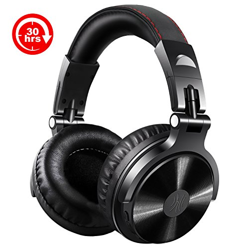 Wireless/Wired Over Ear Headsets, 30 Hrs Stereo Bluetooth Headphones with 3.5mm 1/8″ Male to 6.3mm 1/4″ Male Cable for DJing, Foldable Headset with Deep Bass, 50mm Neodymium Drivers for PC, Phone