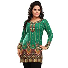 Indian Tunic Top Womens / Kurti Printed Blouse India Clothing (Off White)