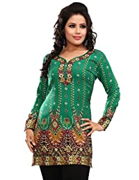 Indian Tunic Top Womens/Kurti Printed Blouse India Clothing (Off White)