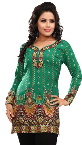 Indian Tunic Top Womens Kurti Printed Blouse India Clothing – S…Bust 34 inches, Green