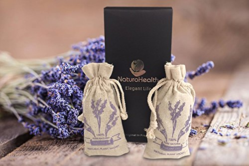 (French Lavender Scented Sachet Gift Box for Pillow, Nightstand, Drawer, Closet, Car, Suitcase, Workout Bags Natural Lavender Fragrance Aromatherapy Lavender Scent (2packs))
