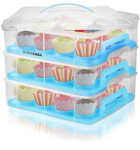 DuraCasa Cupcake Carrier, Cupcake Holder - Store up to 36 Cupcakes or 3 Large Cakes | Stacking Cupcake Storage Container | Cupcake, Cookie, Muffin or Cake Dessert Carrier (3 Tier Blue)