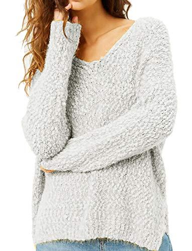 Womens Sherpa Pullover Plus Size Tops Fuzzy Sweater V Neck Light Sherpa Fleece Fluffy Long Sleeve ()