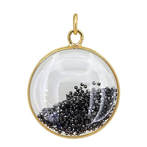 Loose Black Diamond 14K Solid Gold Round Handmade Shaker Pendant Crystal Jewelry (Exporter Gold Jewelry)