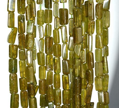 7X4-10X4MM Lemon Jade Gemstone Green Yellow Rectangle Tube Loose Beads 14