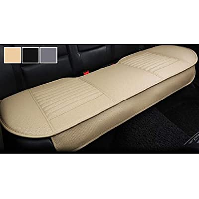"Big Ant Nonslip Rear Car Seat Cover Breathable Cushion Pad Mat for Vehicle Supplies with PU Leather(Beige - Back Row 58.3"" x 18.9""): Automotive"