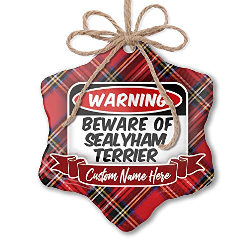 (NEONBLOND Customizable Ornament Beware of The Sealyham Terrier Dog from Wales add Your own Text!)