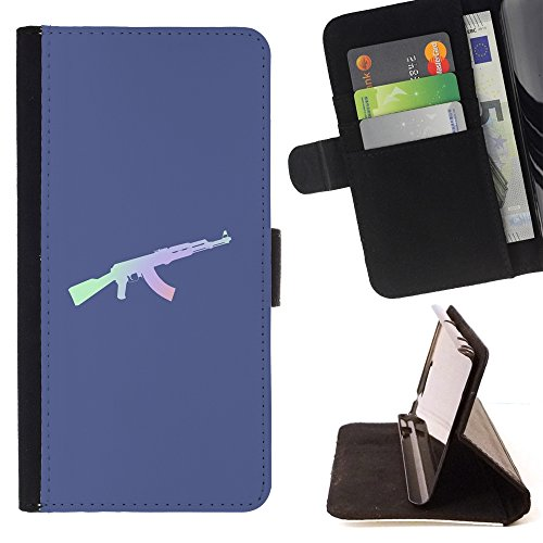 // PHONE CASE GIFT // Fashion Leather Wallet Case Stylish Credit Card & Money Pouch Protective Cover for SAMSUNG GALAXY A5 / Rifle Ak Gun Solider Military /