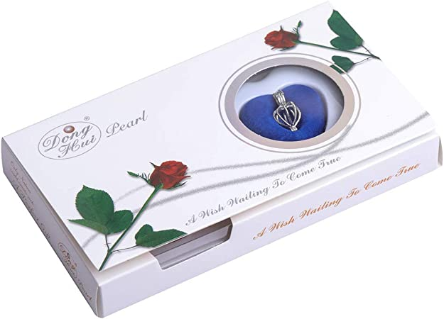 Amazon.com: GEM-inside Red Rose Theme Heart Cage Love Wish Pearl Silver Plated Necklace Kit Gift Pearl in Oyster: Clothing