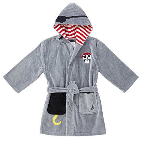 Nautica Boys' Hooded Terry Velour Swim Cover-up Beach Robe (Small (5/6), Grey Pirate)