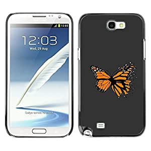 LECELL -- Funda protectora / Cubierta / Piel For Samsung Galaxy Note 2 N7100 -- Awesome Orange Butterfly --