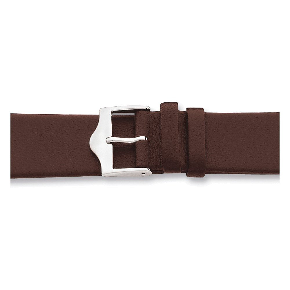 12mm Flat Brown Leather Silver-tone Buckle Watch Band