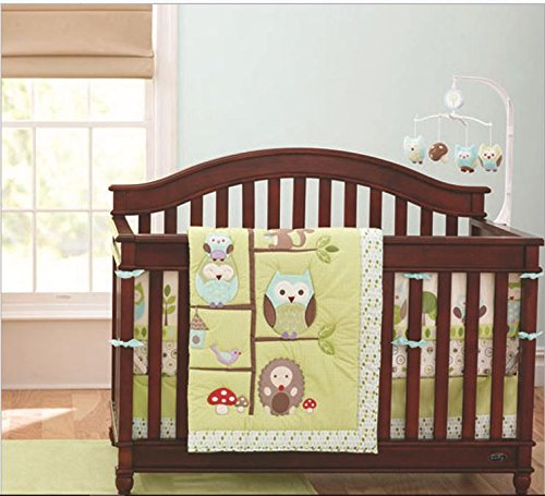 - Baby GreenOwl 10pcs Crib Bedding Set (with musical mobile)