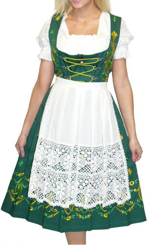 Dirndl Trachten Haus 3-Piece Long German Wear Party Oktoberfest Waitress Dress 16 46 Green
