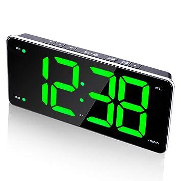 Reloj Despertador para los durmientes Pesados Relojes de Escritorio de la Radio FM Hogar Pantalla Grande Digital Regulador Snooze Niños Adultos Grandes ...