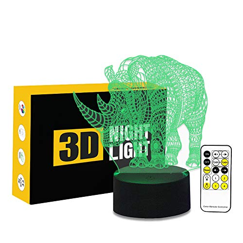 Circle Circle Colorful Gradients 3D Optical Illusion Cute Rhinos 7 Colors Change Touch Button and 15 Keys Remote Control LED Night Light