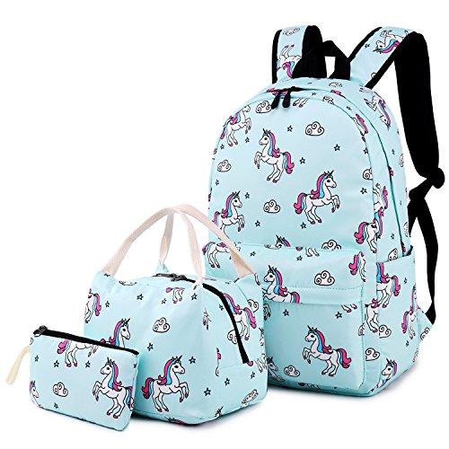 be61f31a986e Teens Backpacks For School Girls bookbags Cute Backpack Sets Water  Resistant School Bag (Light Blue)