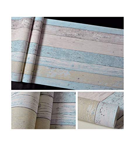 (Wallpaper Distressed 3D Stereo Template Color Plate Imitation Wood Grain Decoration Hairdressing Wallpaper Background Wall Porcelain Cyan)