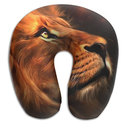 Laurel Neck Pillow Lion Face Painting Travel U-Shaped Pillow Soft Memory Neck Support for Train Airplane Sleeping