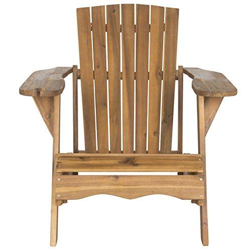 Safavieh Outdoor Collection Vista Adirondack Chair, Teak Brown - Adirondack Collection Teak Furniture