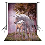 FUERMOR 5x7ft Two Unicorns Photography Backdrop For Girls and Family Photo Shooting Props Customized Background R315
