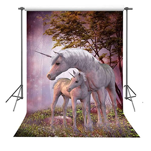 FUERMOR 5x7ft Two Unicorns Photography Backdrop For Girls and Family Photo Shooting Props Customized Background R315 by FUERMOR