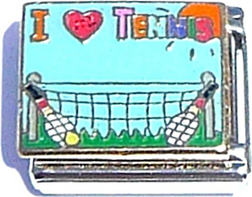 Quality Gold Tennis Charm - I Love Tennis Italian Charm
