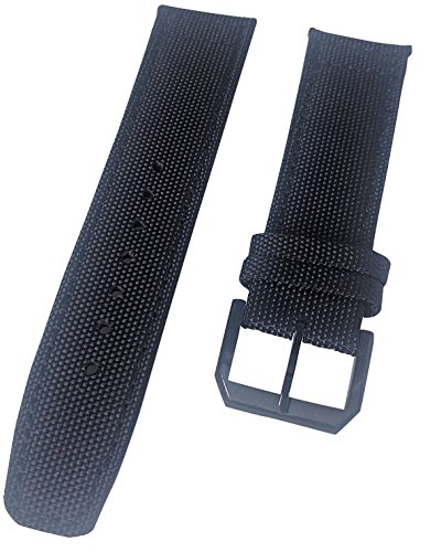 Straps Guy 22mm 500D Quality Cordura Black Canvas Watch Strap Band with Matching ()
