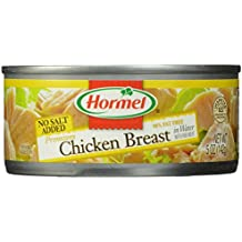 HORMEL Premium Chunk Chicken - Canned Chicken Breast - In Water - No Salt - Shelf Stable Protein - 5 Ounce (Pack of 12)
