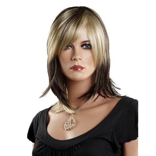 [Troadzwig Fashion Blonde Black Long Straight Slightly Curled Root Hair Natural Oblique Bangs Wigs for Women Kanekalon Fiber] (Blonde Pigtail Wig)