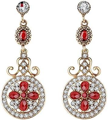 Oro color redondo largo gota pendientes para las mujeres novias dama de honor rojo cristal boda pendientes regalo de Navidad
